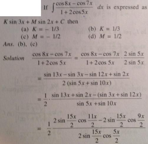 229 Cos 8x minus Cos 7 x so multiply by Cos 15 x