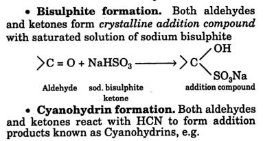 28h Bisulphite and Cyanohydrin Formation