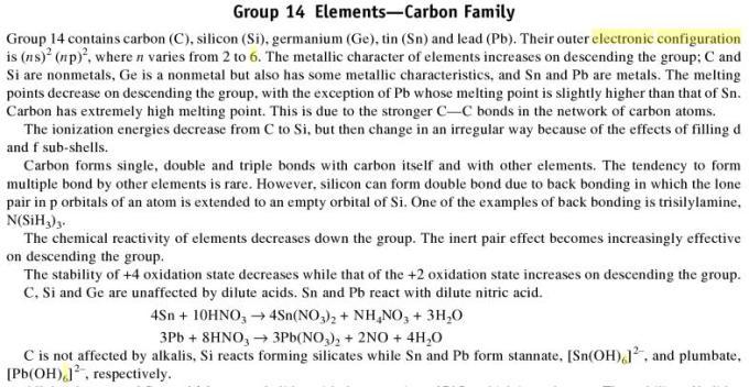 3e Group 14 Elements Carbon 1