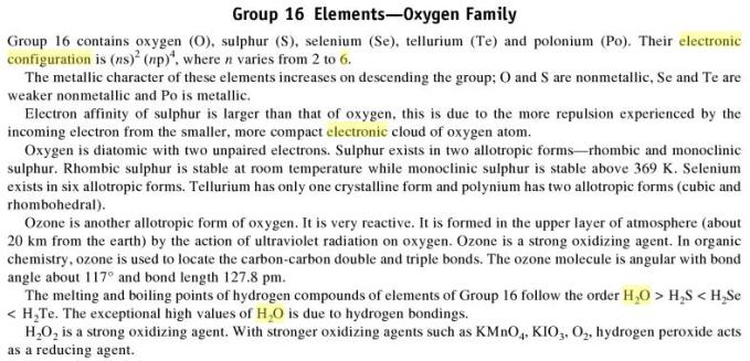 3h Group 16 Elements Oxygen Family