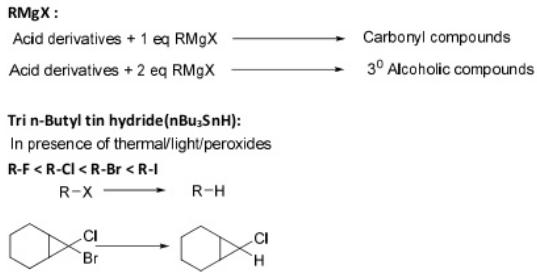 49 RMgX and Tri n Butyl tin hydride
