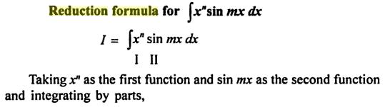 55 Reduction formula for x to the power n sin mx