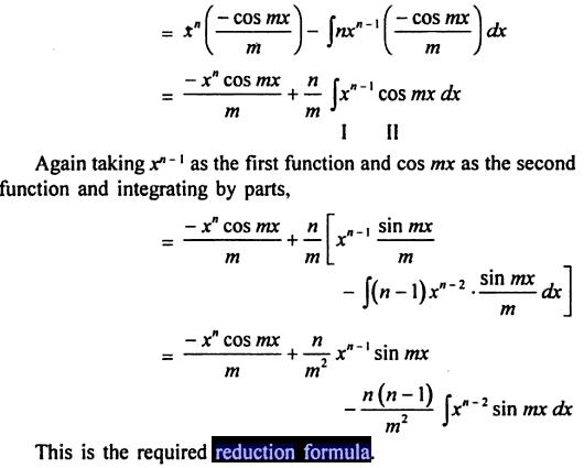56 Reduction formula for x to the power n sin mx