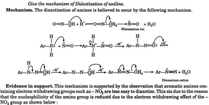 6 mechanism of Diazotisation of aniline 1