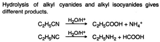 7 Hydrolysis of cyanides isocyanides give different products