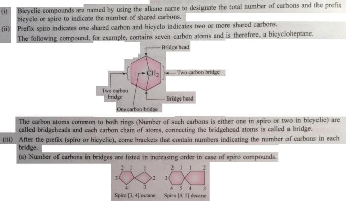 96a Naming rules of Bicyclo and spiro compounds