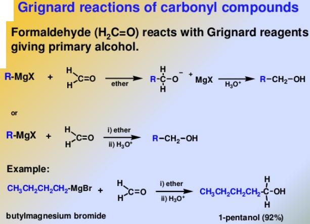 97 Formaldehyde reacts with Grignard reagent to give alcohols