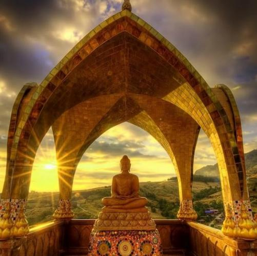 Buddha under Yellow House