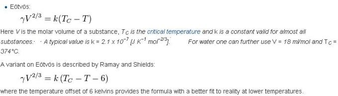 12 Eotvos Equation for Surface Tension