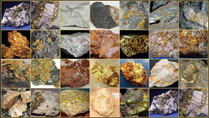 15 Various Rocks containing Gold