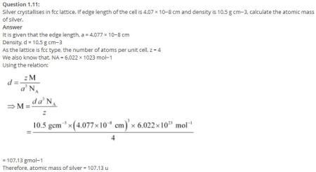 1.11 QA Solid State CBSE std 12 Solutions