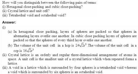 1.7 QA Solid State CBSE std 12 Solutions