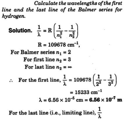 1 calculate wavelength of 1st line balmer series