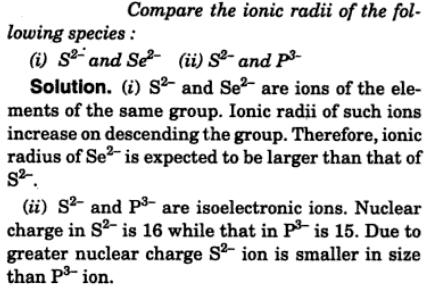 1 Compare the ionic radii of the following