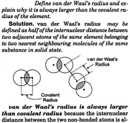 1 Define van der waal's radius and explain why