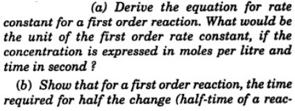 1 Derive the equation for rate constant