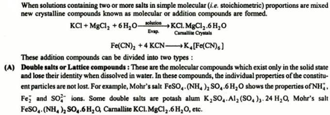 1 Double salts or Lattice compounds