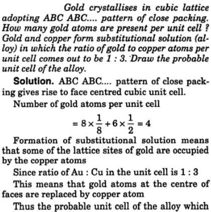 1 Gold crystallizes cubic lattice adopting