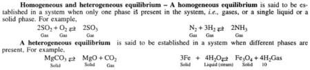 1 Homogenous and heterogenous equlibrium