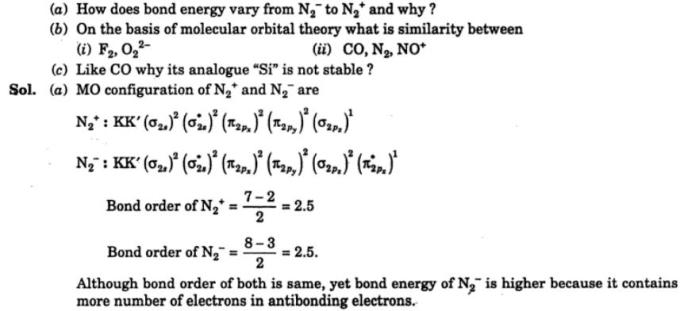 1 How does bond energy vary from N2- to N2+