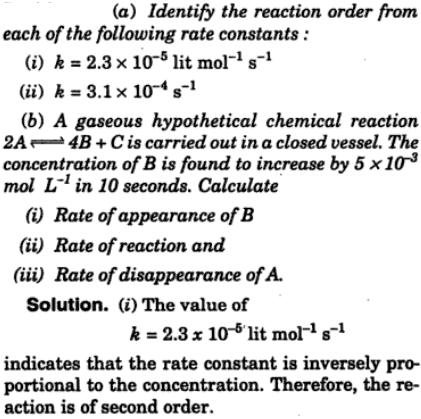 1 Identify the reaction order from given k