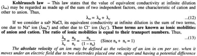 1 Kohlrausch's Law