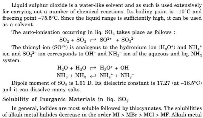 1 Liquid SO2 as Solvent