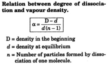 1 Relation between degree of dissociation and vapour density