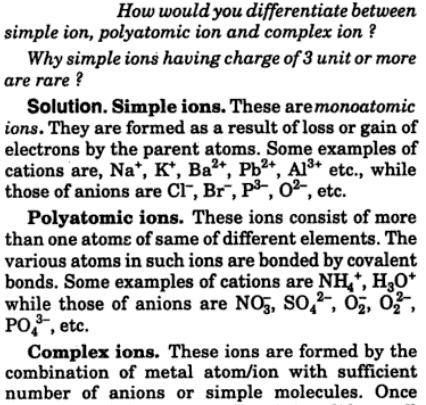 1 simple ion, complex ion, polyatomic ion