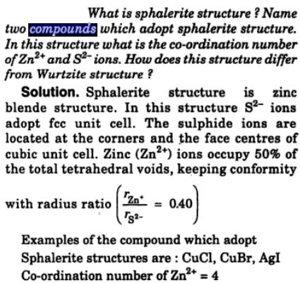 1 sphalerite structure name compounds