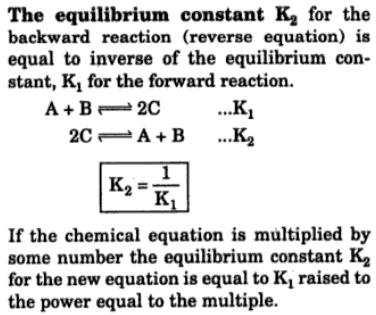1 The Equilibrium constant K2 for backward reaction