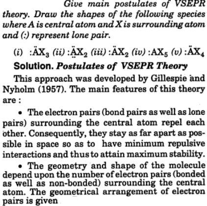 1 VSEPR postulates of theory