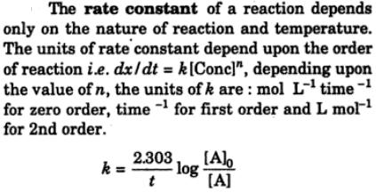 1 what is rate constant of a reaction