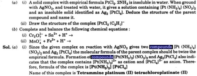 10 A solid complex with empirical formula PtCl2.2NH3