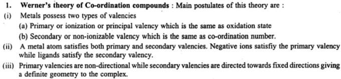 10 Werner's theory of co-ordination compounds
