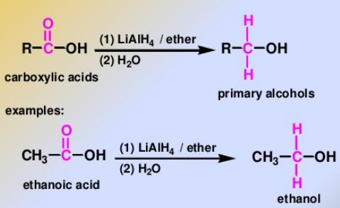 102 carboxylic acids can be reduced to give alcohols