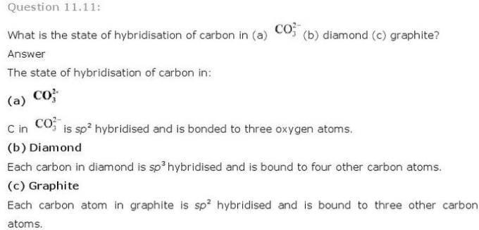 11.11 p-Block CBSE standard 11 Solutions