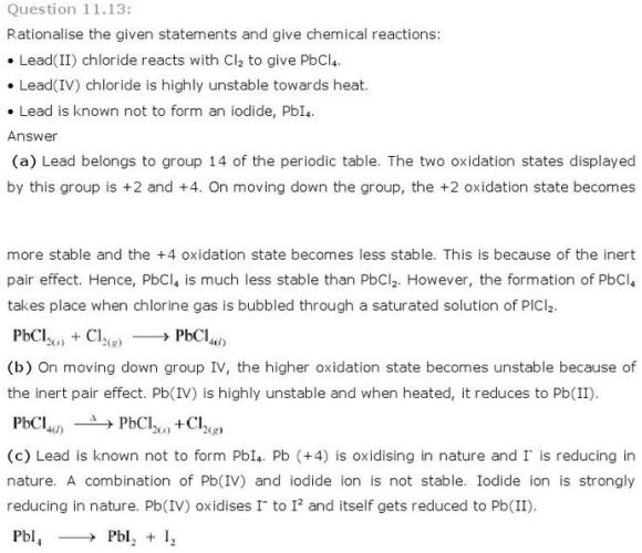 11.13 p-Block CBSE standard 11 Solutions