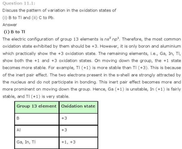 11.1a p-Block CBSE standard 11 Solutions