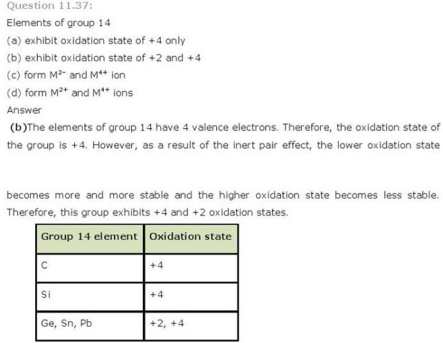11.37 p-Block CBSE standard 11 Solutions