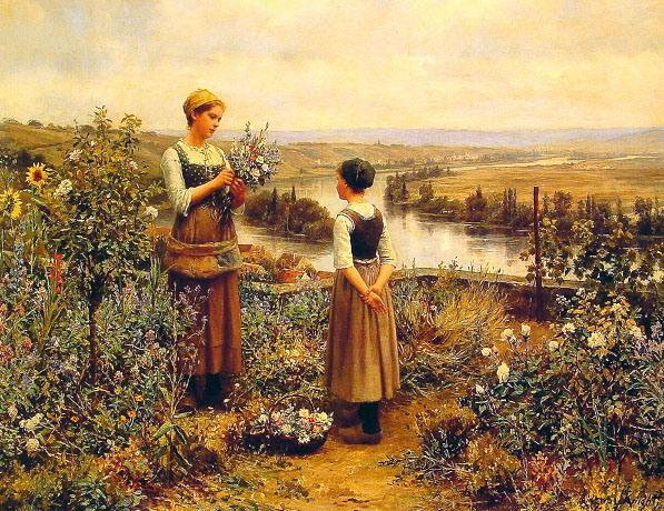 11 Two women plucking flowers beside the river