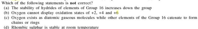 11a Which statement is not correct