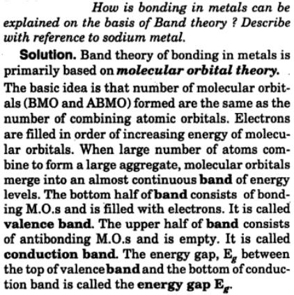 12 bonding in metals basis of Band theory