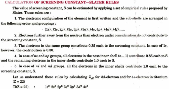 12 Calculation of Screening constant Slater Rules
