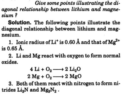 12 diagonal relationship of Lithium and Magnesium