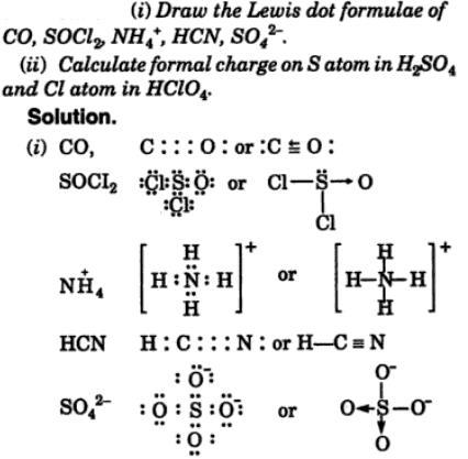 12 Draw Lewis dot formula CO, SOCl2 NH4+ HCN SO42-