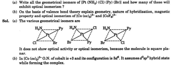 12 Geometrical isomers of Pt(NH3)(Cl)(Py)(Br)