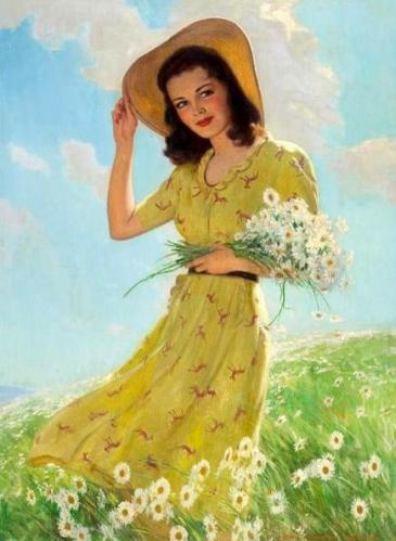 12 Painting Yellow dress woman trying to become more beautiful with white flowers