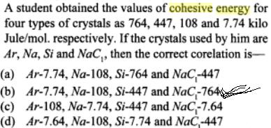 12a A student obtained the values of crystals cohesive energies