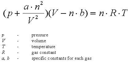 12a Van der waals equation for n mole of gas